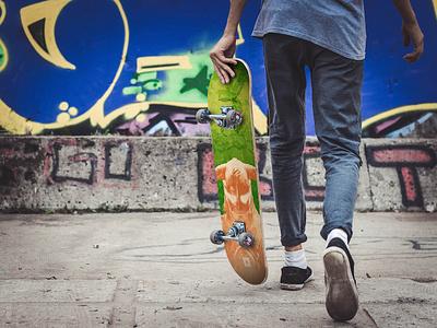 Skyrim Skateboard Design Mockup green orange skater photoshop mockup elder scrolls videogame game bethesda skyrim skate skateboard