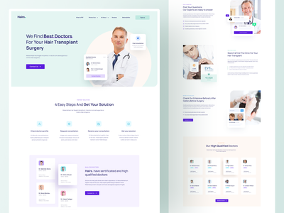 Medical Landing Page medicine medical design surgery treatment clean landing page hairstyle hair doctor medical