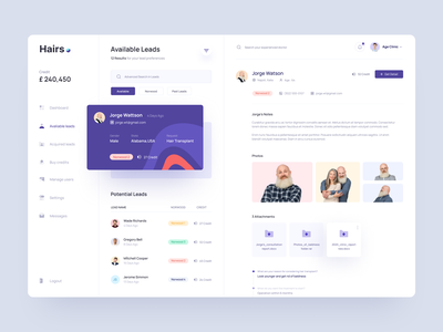Clinic Dashboard Leads ux  ui ui cards ui card clean search table list medical doctor health clinic dashboard
