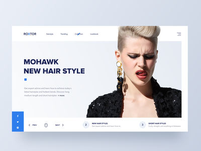 Roxtor fashion landing page concept blue landing page fashion hairstyle hair