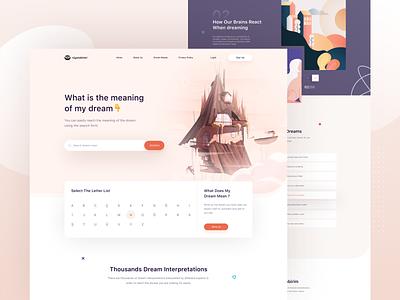 Dream Book Landing Page dreaming dream web design illustration landing page