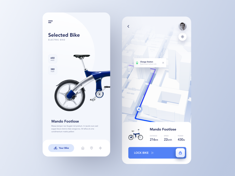 Bike Rent App rental app rent navigation mobile app mobile booking bike