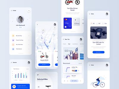 Bike app payment profile navigation tracking track mobile app design mobile app bicycle bike