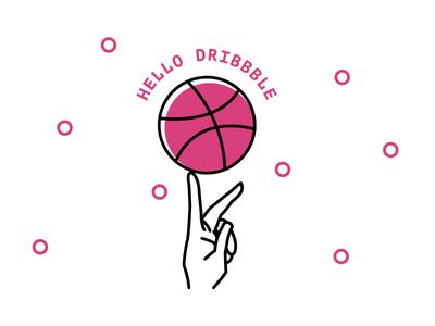 Hello Dribbble! player new hand dribbble hello