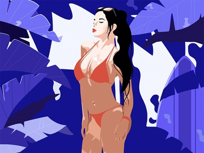 Bikini Girl web ui sunshine plant illustration jensonn women blue girls bikini sunlit