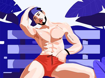 Fitness Man Illustration web ui plant bule link jensonn illustration man fitness