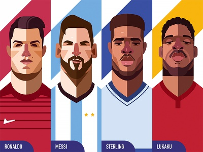 Illustration - World Cup Edition 1 jenson z. flat design illustration lukaku sterling messi ronaldo soccer world cup