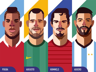 Illustration - World Cup Edition 2 illustrator soccer aguero hummels augusto pogba world cup flat design illustration