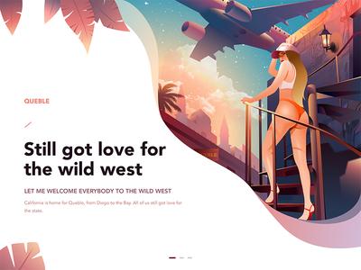 California Love design girl queble web design illustrator illustration love california