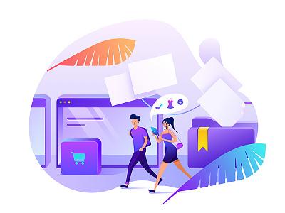Ecommerce Platform Illustration ux branding queble illustrated web design web illustrator illustration ecommerce shopping