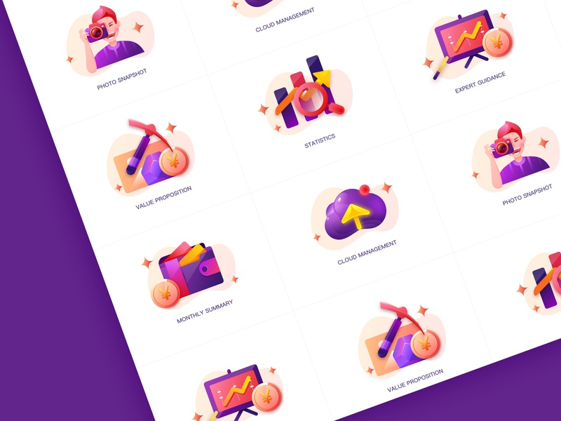 Icon Sets web design ux logo plant jensonn queble line colorful illustrator design blue web app illustration ui