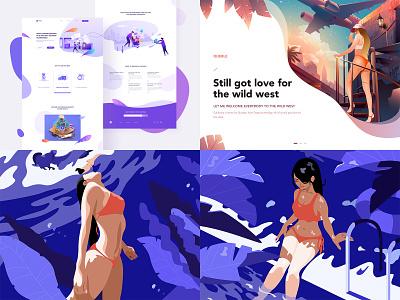 Top4Shots on@Dribbble from 2018 line branding women web design ux jensonn girl queble colorful blue illustrator design app web illustration ui