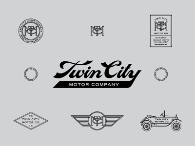 Twin City Motor Co. car type vintage lettering drawing branding illustration typography design