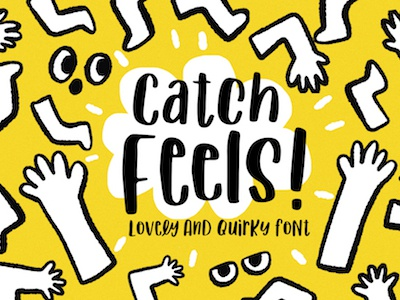 Catch Feels! Lovely and Quirky Font resource design illustration comic cartoon cute quirky typeface typography font