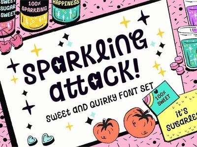 Sparkling Attack! Font app gui fantasy quirky illustration typography typo typeface font