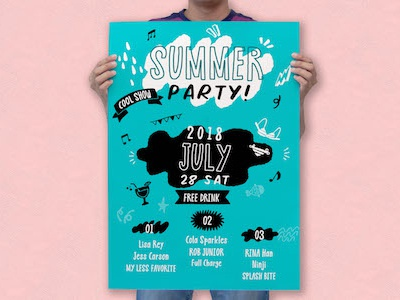 Summer Party Poster made with my recent font! vector vibe design branding icon hipster logo hip cute lettering resource typography typo quirky illustration cartoon typeface font