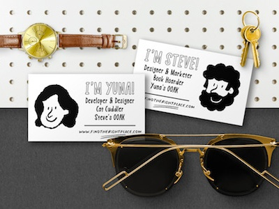 Business Cards for Steve and Yuna print card business logo hipster vector branding typography typo quirky cartoon illustration resource typeface design font