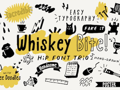 Whiskey Bite - Free Hip Font freebies free font freebie free book business vector logo lettering hipster branding resource design typography typo quirky illustration cartoon typeface font