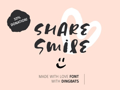 Share Smile - Brush Font + Dingbats script trendy language multilingual project donation dingbats ink brush card vector lettering branding resource design typography typo illustration typeface font