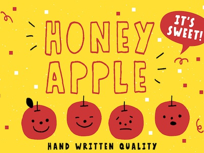 Honey Apple - Free Sample Link design resource calligraphy vibe print hip logo business quirky hipster cartoon lettering vector resource illustration design branding typography typo typeface font