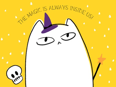 The Magic is always Inside us! cat halloween serif vibe hip design resource business calligraphy hipster cartoon quirky lettering resource illustration design branding typo typography typeface font