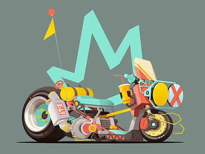 King of the Scooters scifi drawing vehicles turbo digitalart slammed scooter junkfood king conceptart cyberpunk motocycle bike sek yoshimura ruckus zoomer illustration sekond