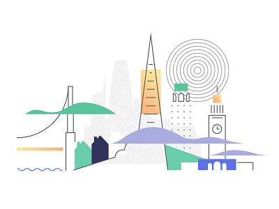San Francisco vector art digital art website illustration web page illustration usa illustration ui illustration home page illustration ferry plaza coit tower bay bay bridge sf bay area california transamerica fog city fog metropolis city sanfrancisco sf