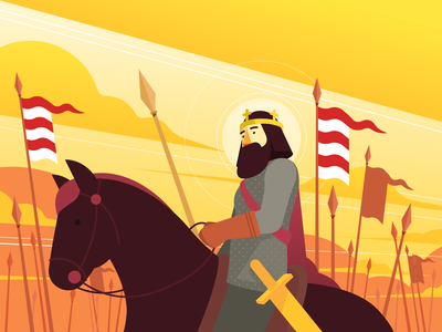 IV Béla motion flat styleframe lance crown sword emperor vectorart ai vector flags horseback horse hungary king character design character animation sek sekond