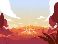 Rákosmező 1241 tents camp fire fire hills sek styleframe vectorart landscape environment art scenery scene environment env ai illustration drawing illustrator vector sekond