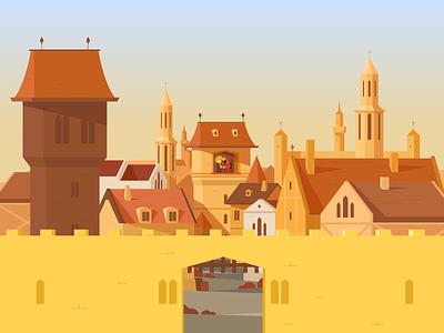Buda Castle + Kezai Simon towers town castle animation vectorart vectors landscape env environment environment art styleframe scenery scene illustration character vector illustrator ai sek sekond