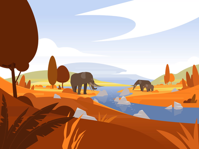 Ice age and Mastodons trees mammoth mastodon ice age hills sek landscape env environment styleframe scenery scene vectorartist vectorart artwork ai vector illustrator illustration sekond