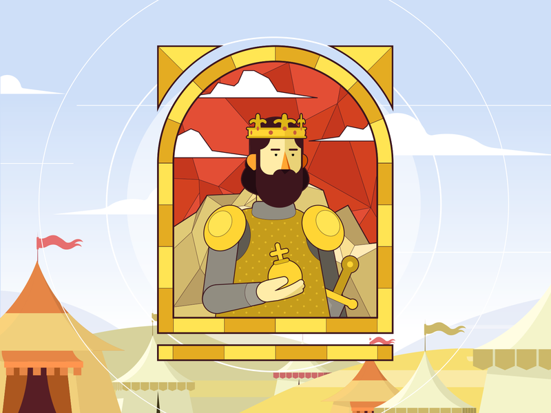 Kings and queen vectorart vector tents sword styleframe stained stained glass stainedglass queen kings king illustrator illustraion character design character cartoon animation ai sek sekond