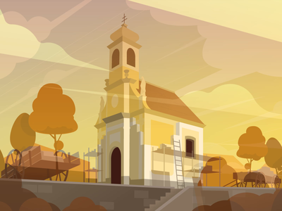 Conti chapel tower timelapse sekond sek construction vectorart vector styleframe scenery scene landscape drawings building chapel architecture environment art environment air illustration illustrator