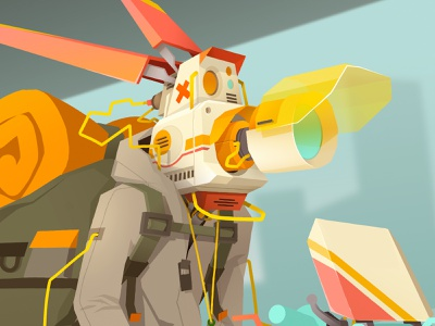 Robot head 🤖 scifi robot head cable lenses backpack robotart robot design robotics robot characters concept art cartoon character design drawing sek artwork illustrator character illustration sekond