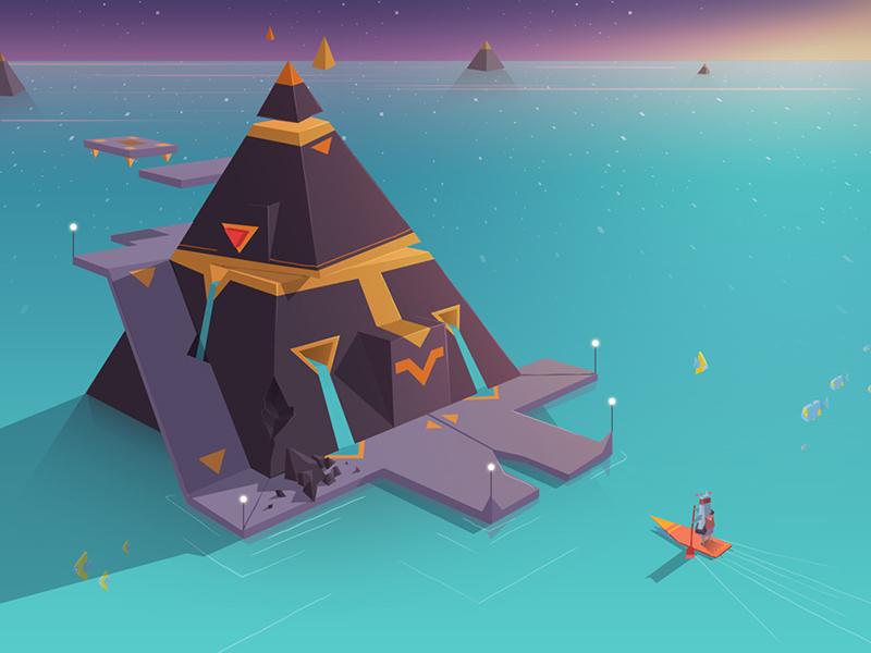 Lotus Ocean pyramids speaker triangle concept art game design game development low poly adventure game indie game waterfall pyramid ocean surf