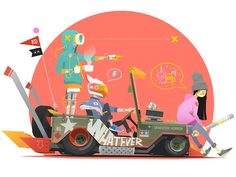 SX-01 willys sneaker slammed love junk food robot jeep hamburger girl car bubble baseball bat