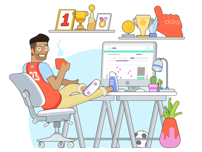 Signality illustration vector illustration descomplica awards work coffee ball trophy characterdesign analytics workspace desktop homeoffice office character sekond sek