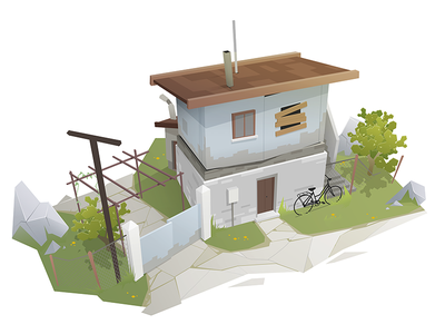 Abandoned house concept bicycle artwork design drawing abandoned house old war environment environment art digital art conceptart illustration sekond