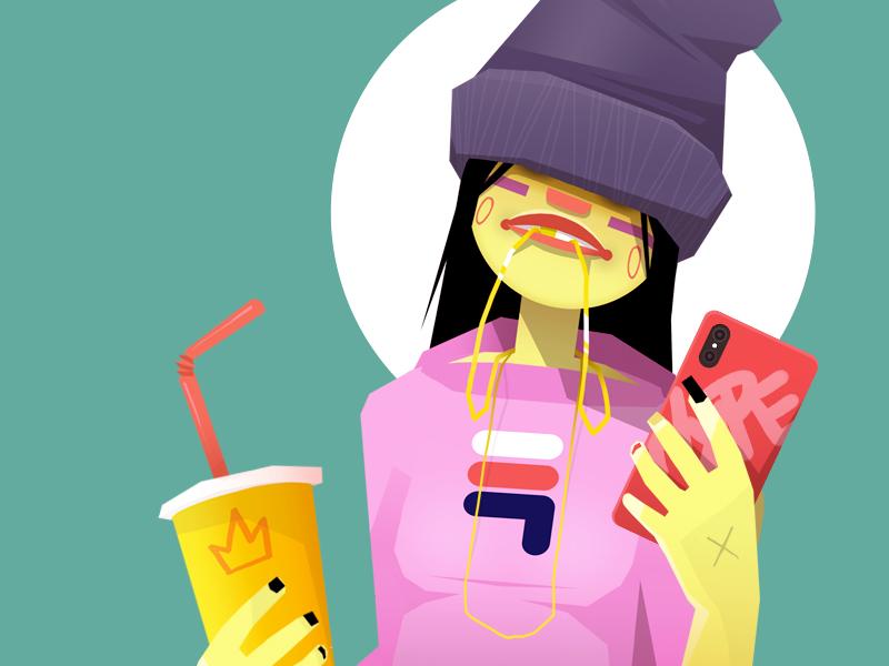 GIRL2 grill fila hoodie selfie junkfood junk hypebeast hat fast food necklace chain iphone vector ai artwork illustrator character illustration sekond