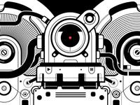 Cassette tape eater Robot