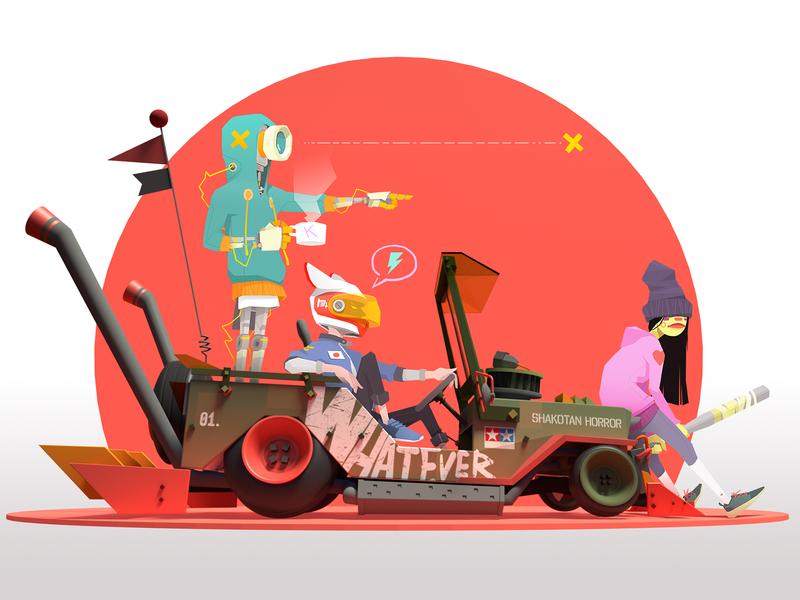 Shakotan Kids cartoon japan pilot whatever robotics shakotan slammed car willys jeep girl game design character design drawing artwork robot illustrator character illustration sekond