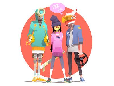 Shakotan Kids sneakers hat helmet robotics team jeep sek comics comic cartoon game design concept art character design drawing artwork robot illustrator character illustration sekond