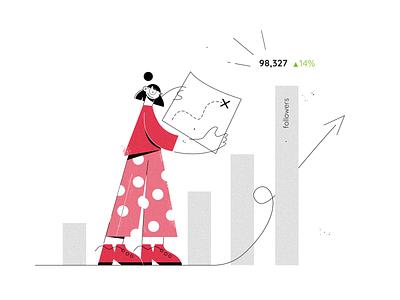 Analyzing social media performance people customer character illustration sales metrics map dots brand social media marketing buffer chart numbers analytics performance character illustration graphs social media