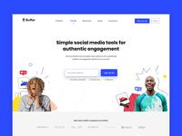 buffer homepage marketing conversion homepage design doodle characters branding ux platform website brand identity people customer landing page social media homepage buffer