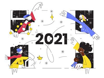 Happy New Year – 2021! new years eve holidays window snow character illustration illustration social media summary covid distance 2021