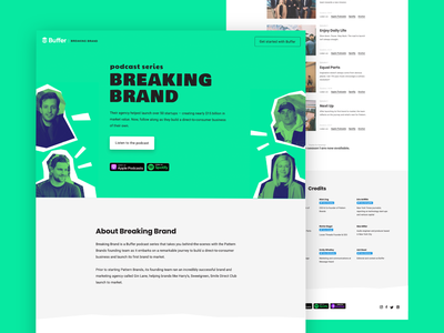 Breaking Brand Podcast Series startup branding agency music website idenity podcast logo logo podcasting green no-code webflow brand buffer podcast