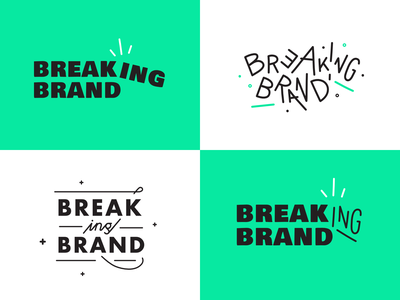 Breaking Brand logo exploration brand buffer green website agency music podcast logo startup logotype typography podcast identity logo