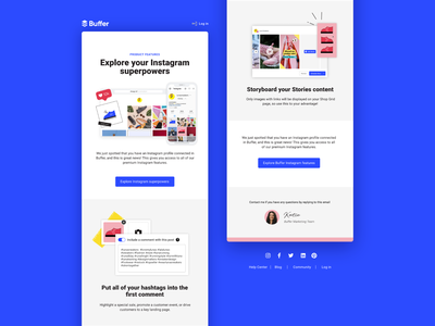 Onboarding emails ux ui screenshot email email design instagram product features social media buffer conversion feature feature adoption design email marketing emails onboarding