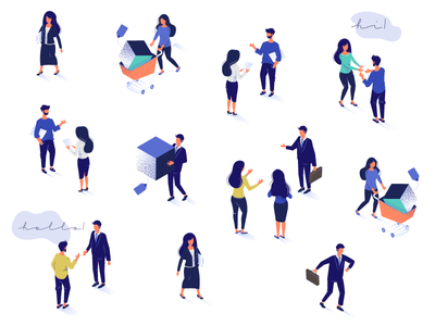 Characters of LiveChat Community character shopping live chat communication conversation chatting introduction community 3d isometric perspective illustration people
