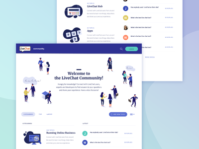 LiveChat Community developer isometric isometric perspective chat conversation business website people charachters forum illustration community livechat